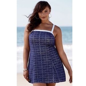 NWT Swimsuits for All crochet purple swimdress